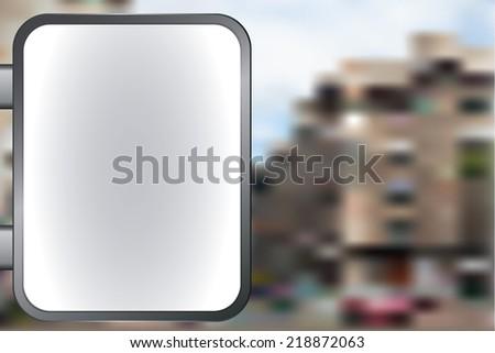 Blank vector billboard for advertisement, empty screen against city - stock vector