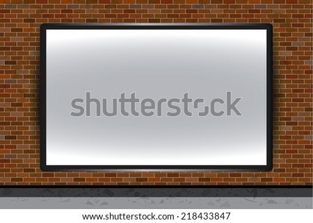 Blank vector billboard on brick wall for advertisement, empty screen - stock vector