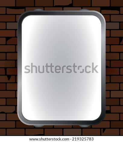 Blank vector billboard on brick wall for advertisement, empty screen - stock vector