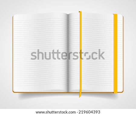 Blank vector notebook with yellow cover and bookmark - stock vector
