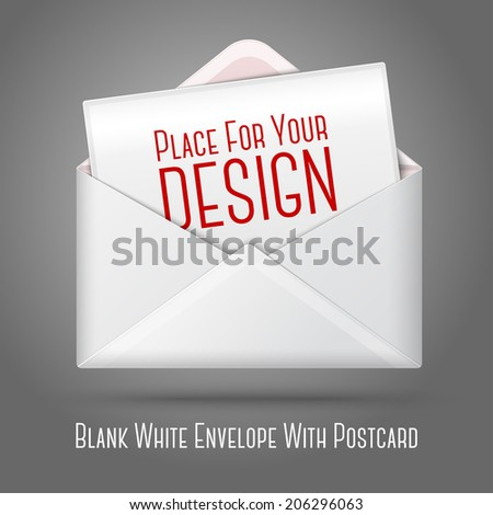 Blank vector white opened envelope and postcard for your text. Isolated on grey background for design and branding. - stock vector