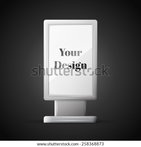 Blank vertical billboard. illustration of blank template layout empty metal billboard with frame for insert advertising banner. - stock vector
