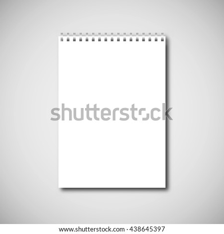 Blank vertical design notebook paper on a spring - stock vector