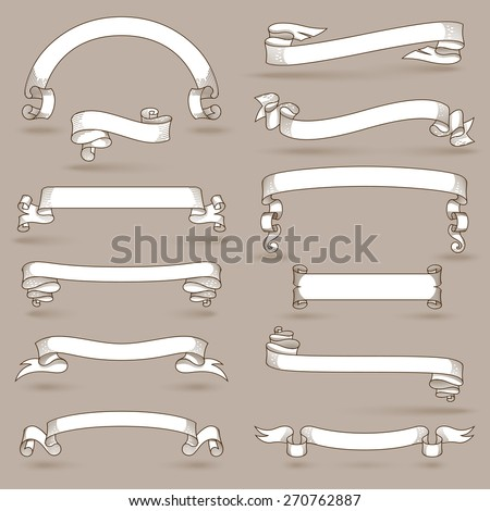 Blank vintage announcement ribbons set with swirl decoration isolated vector illustration - stock vector