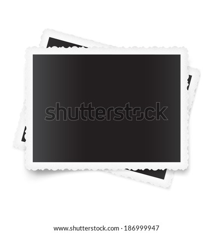 Blank vintage photo frames isolated on white background. Vector illustration. Realistic. - stock vector