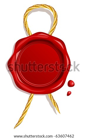 Blank wax seal with golden cord - stock vector