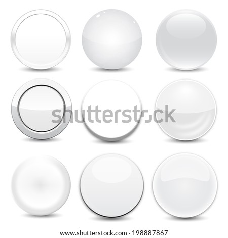 Blank White Buttons - stock vector