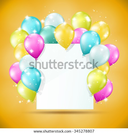 blank white card with balloons and sparkles  - stock vector
