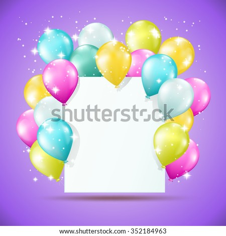 blank white card with balloons and sparkles on violet background - stock vector