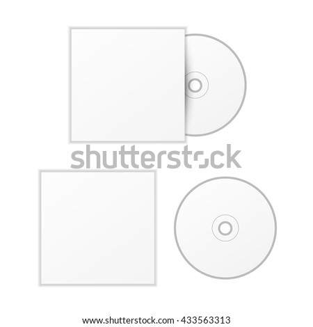 Blank white compact disk with cover mock up template isolated on white - stock vector