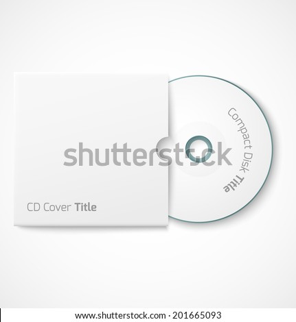 Blank white compact disk with cover mock up template. Vector illustration - stock vector