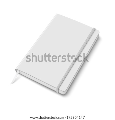Blank white copybook template with elastic band and bookmark. Vector illustration. - stock vector