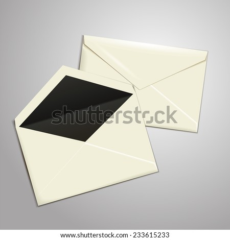 Blank white envelopes opened and close. . vector illustration - stock vector