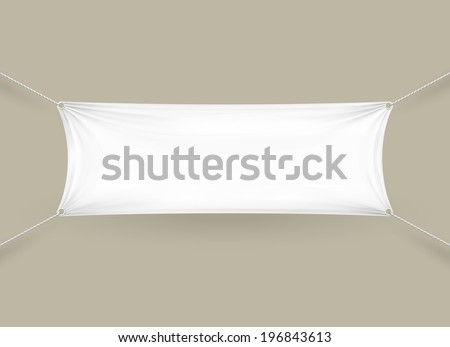 Blank white fabric rectangular horizontal banner with ropes attached to each corner pulling it tight against a grey wall with folds and creases  copyspace for your text - stock vector