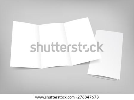 Blank white folding paper flyer. Trifold mock up for brochure presentation. Vector illustration. - stock vector