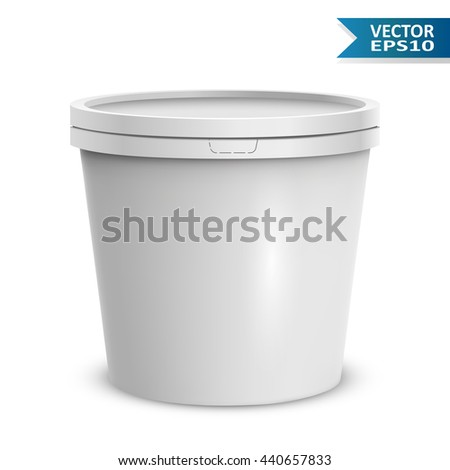 Blank white ice cream round container isolated on white background vector template. Blank yogurt or ice cream plastic bucket. - stock vector