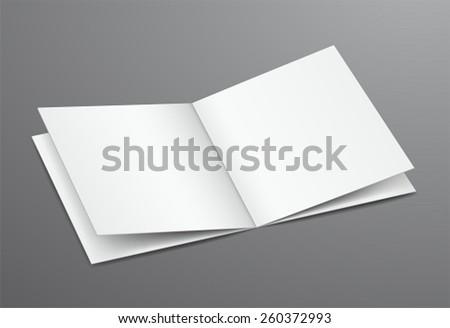 Blank White Open Brochure Magazine, Isolated on Dark Background - stock vector