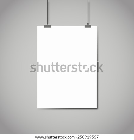 Blank white page hanging against grey background vector template - stock vector