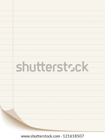 Blank white paper isolated on white background, vector illustration - stock vector