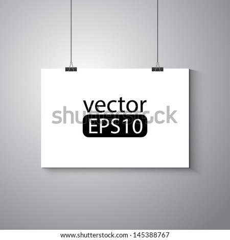 Blank white poster on wall - stock vector