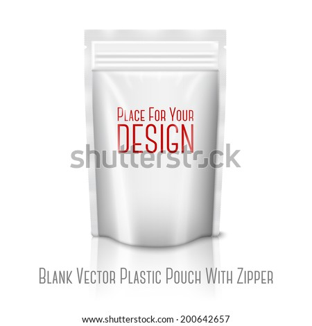 Blank white realistic plastic pouch with zipper isolated on white background with reflection . With place for your design and branding. Vector - stock vector