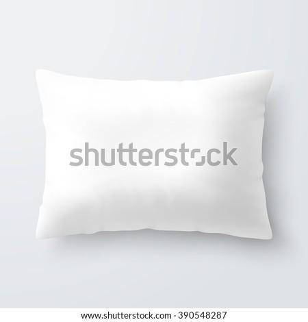 Blank white rectangular pillow / cushion vector illustration  - stock vector