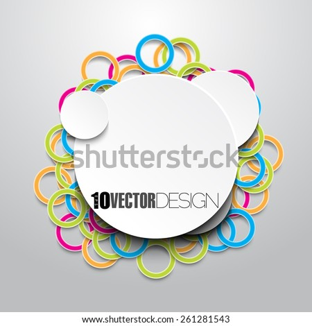 blank white round frame with multicolored rings behind eps10 vector background design - stock vector