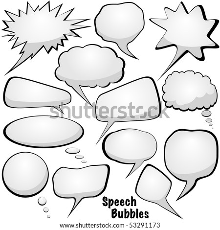 Blank white speech and thought bubbles vector set isolated on white - stock vector