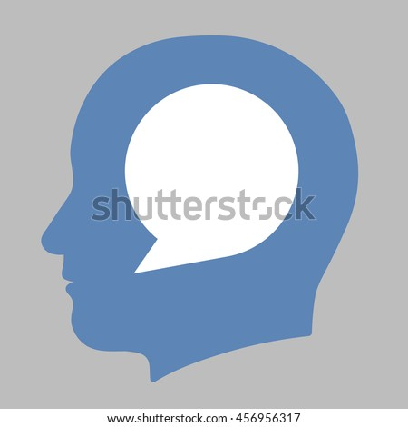 Blank white speech bubble with copy space for your text inside a blue human head silhouette in a conceptual illustration on a grey background - stock vector