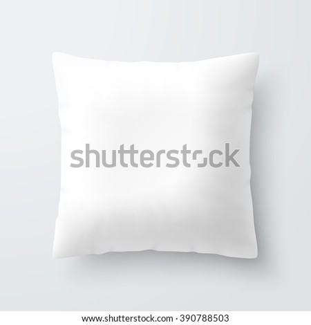 Blank white square pillow / cushion vector illustration - stock vector