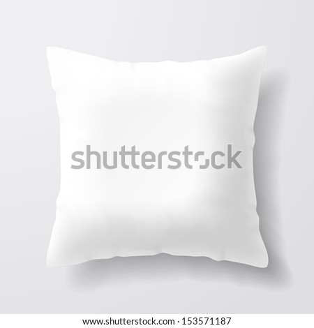Blank white square pillow. Vector. - stock vector