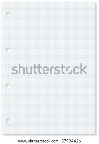 Blank white squared paper sheet with blue lines and holes. - stock vector