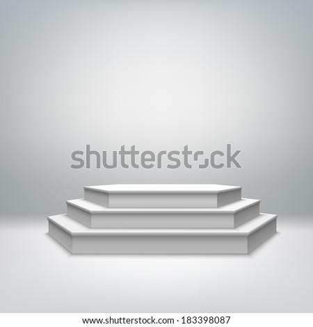 Blank white stage podium for award ceremony event vector illustration - stock vector