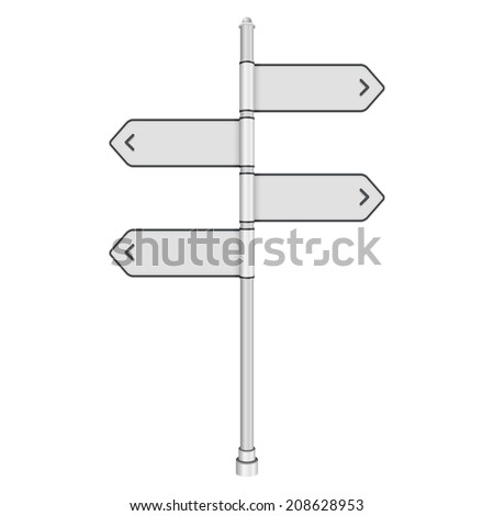 Blank white traffic road sign on white background. Vector illustration - stock vector