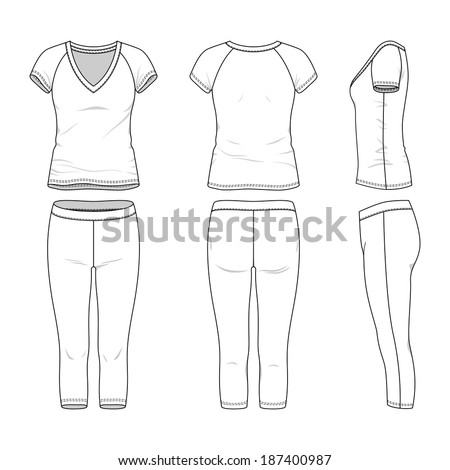 Blank women's active wear in front, back and side views. Vector illustration. Isolated on white. - stock vector