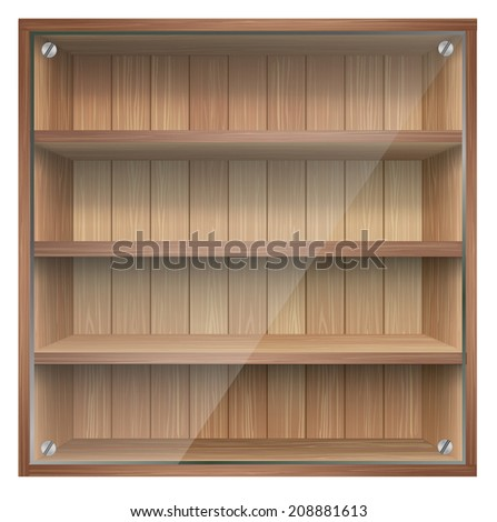 Blank wooden bookshelf. vector. - stock vector