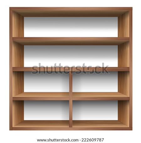 Blank wooden bookshelf. vector  - stock vector