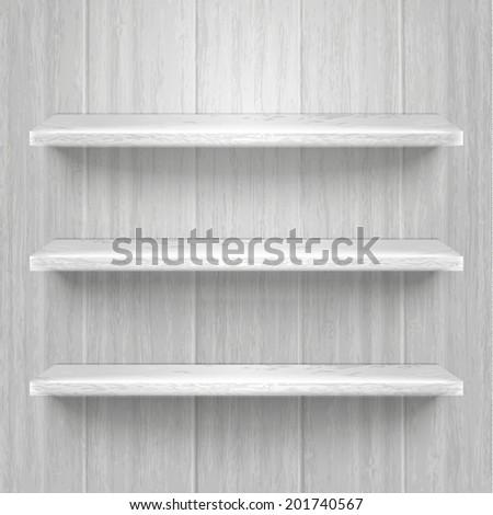 Blank wooden bookshelf. Vector illustration - stock vector