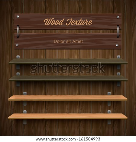 Blank wooden bookshelf, vector image.  - stock vector