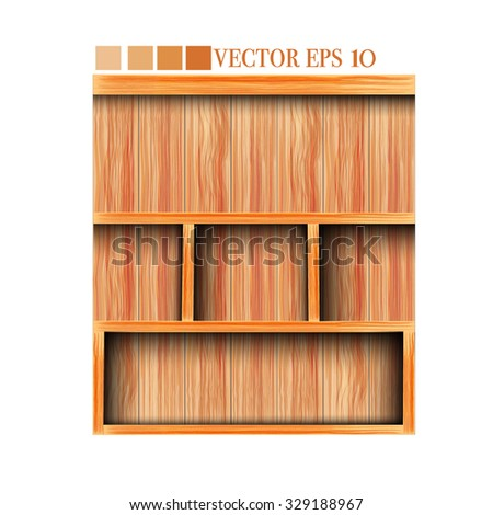 Blank wooden shelf - stock vector