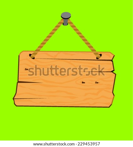 Blank wooden sign hanging  - stock vector