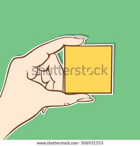 blank yellow box hold in hand design vector - stock vector