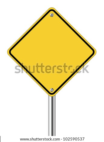 Blank yellow road sign on white background - stock vector