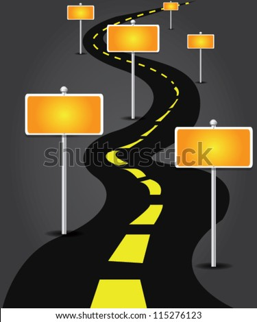 Blank yellow signpost on street,Vector - stock vector