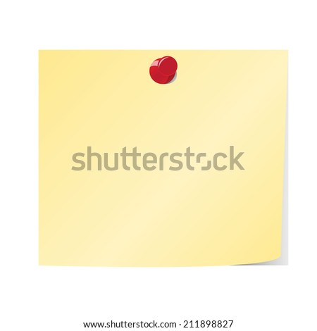 Blank yellow sticky note and red pinned - stock vector