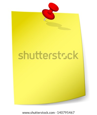 Blank yellow sticky note attached with red pin. Vector Illustration - stock vector