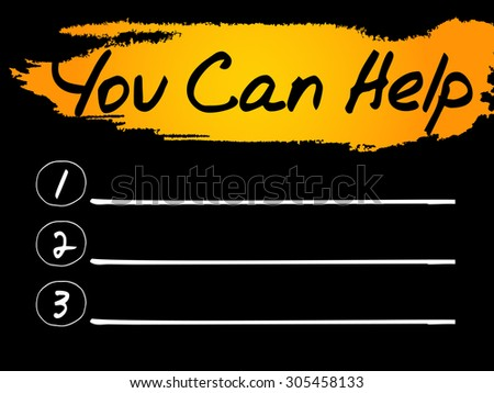 Blank You Can Help list, vector concept background - stock vector