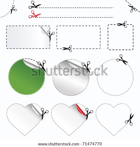 Blanks Advertising Coupon Cut From Sheet Of Paper,  Isolated On White Background, Vector Illustration - stock vector