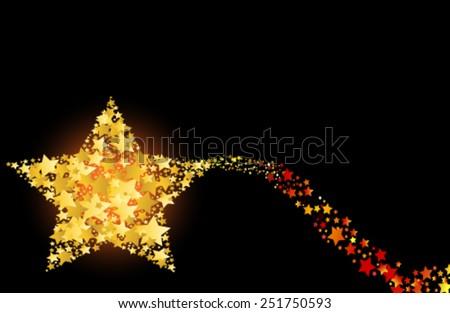 blazing abstract comet shooting gold star vector illustration - stock vector