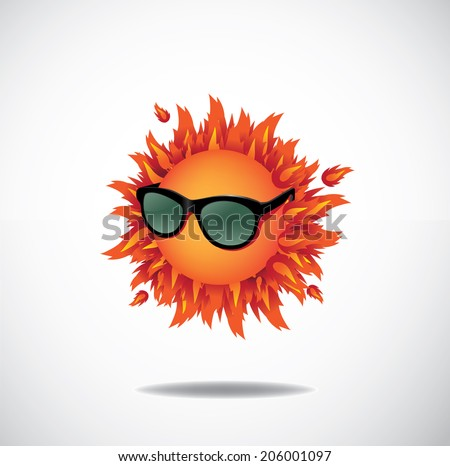 Blazing sun wearing sunglasses EPS 10 vector, grouped for easy editing. No oen shapes or paths. - stock vector